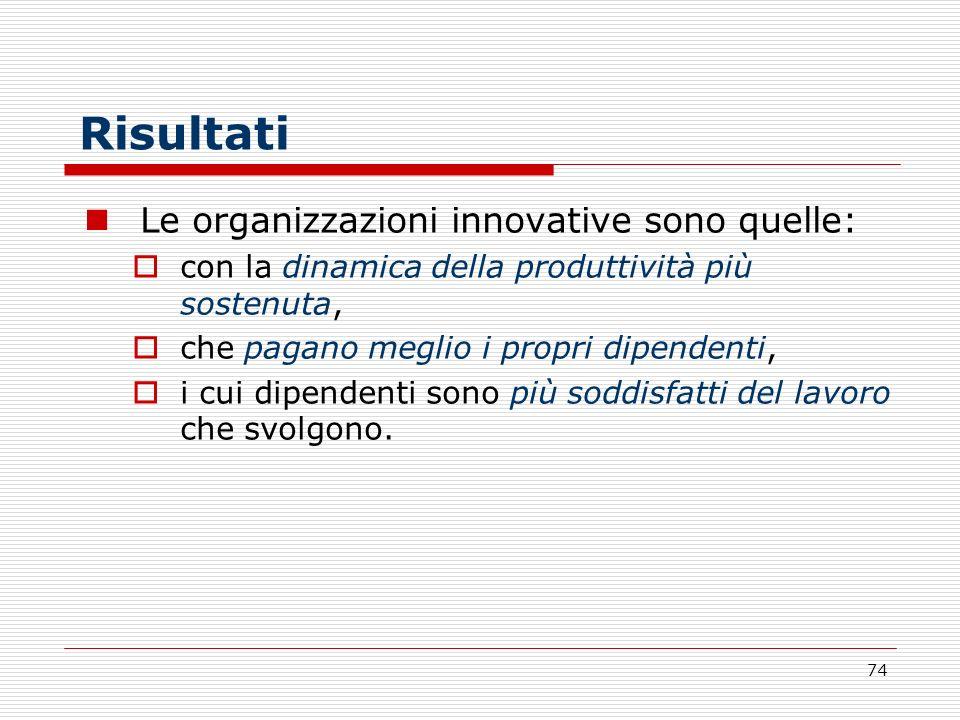 74 Risultati Le organizzazioni innovative sono quelle: con la dinamica della produttività più sostenuta, che pagano meglio i propri dipendenti, i cui