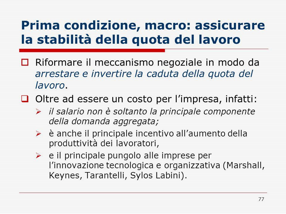 77 Prima condizione, macro: assicurare la stabilità della quota del lavoro Riformare il meccanismo negoziale in modo da arrestare e invertire la cadut