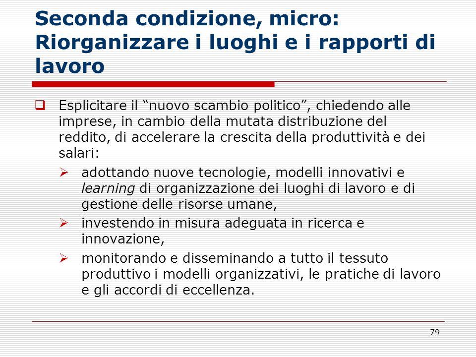 79 Seconda condizione, micro: Riorganizzare i luoghi e i rapporti di lavoro Esplicitare il nuovo scambio politico, chiedendo alle imprese, in cambio d