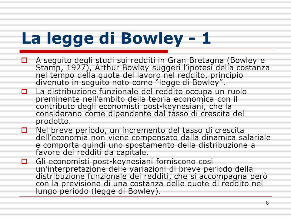 9 La legge di Bowley - 2 Date le diverse propensioni al risparmio di lavoratori e imprenditori, la manovra della distribuzione funzionale del reddito consente di portare i risparmi ad eguagliare gli investimenti necessari per conseguire: a) il pieno impiego o, b), il tasso di crescita del prodotto desiderato.
