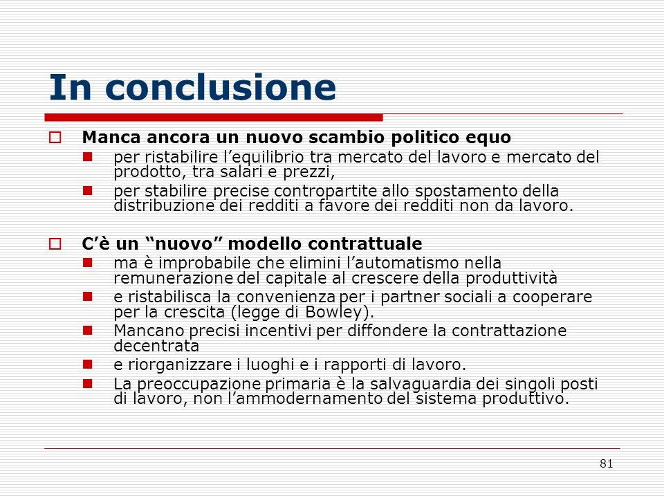 81 In conclusione Manca ancora un nuovo scambio politico equo per ristabilire lequilibrio tra mercato del lavoro e mercato del prodotto, tra salari e