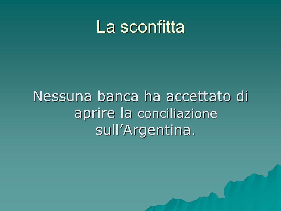 La sconfitta Nessuna banca ha accettato di aprire la conciliazione sullArgentina.