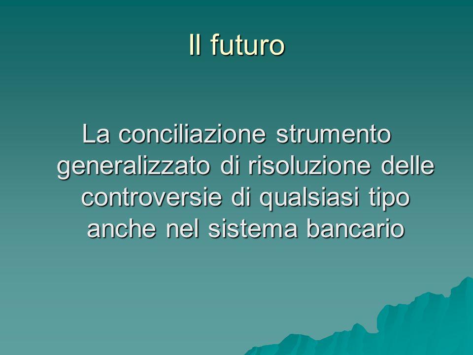 Il futuro La conciliazione strumento generalizzato di risoluzione delle controversie di qualsiasi tipo anche nel sistema bancario