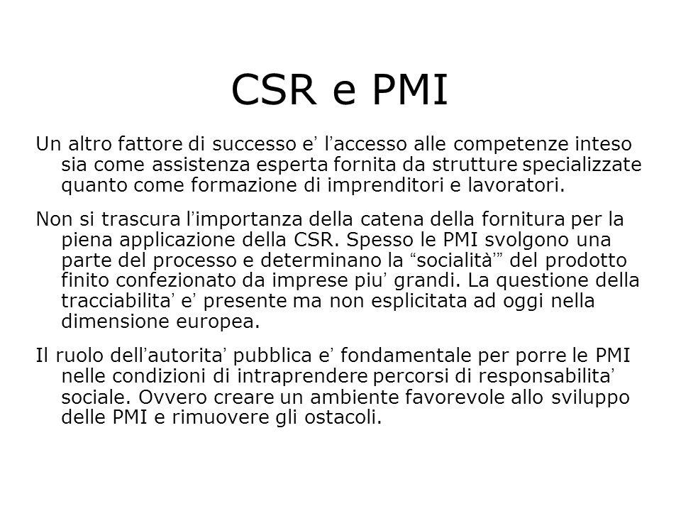 CSR e PMI Un altro fattore di successo e l accesso alle competenze inteso sia come assistenza esperta fornita da strutture specializzate quanto come f