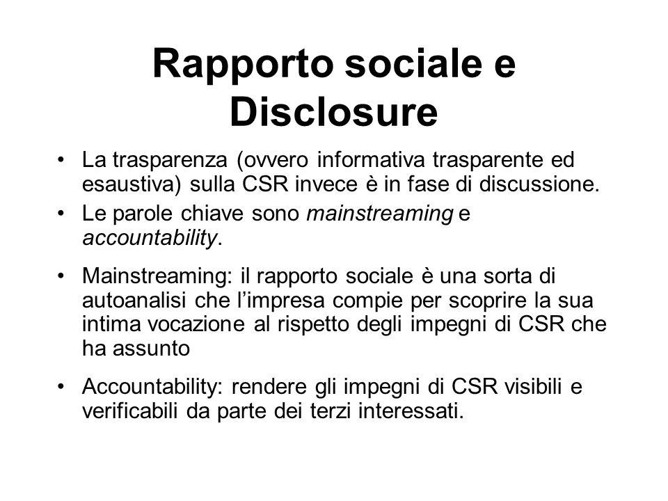 Rapporto sociale e Disclosure La trasparenza (ovvero informativa trasparente ed esaustiva) sulla CSR invece è in fase di discussione. Le parole chiave
