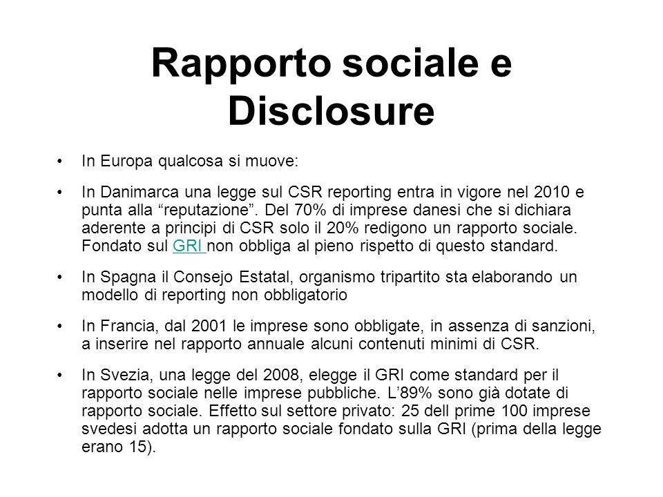 Rapporto sociale e Disclosure In Europa qualcosa si muove: In Danimarca una legge sul CSR reporting entra in vigore nel 2010 e punta alla reputazione.