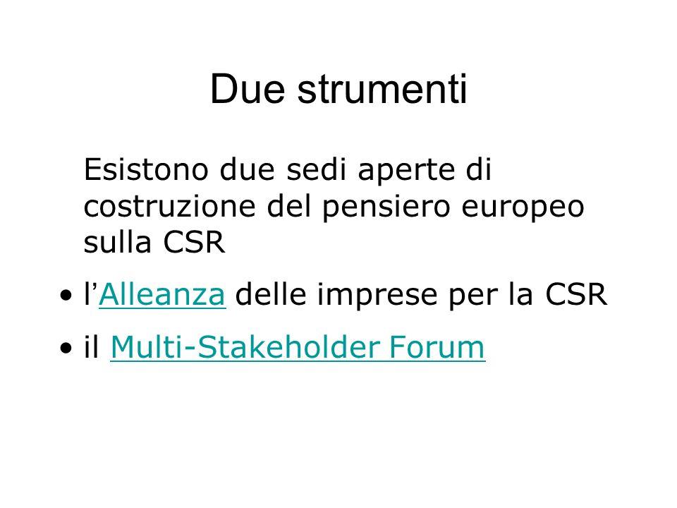 Due strumenti Esistono due sedi aperte di costruzione del pensiero europeo sulla CSR l Alleanza delle imprese per la CSR Alleanza il Multi-Stakeholder
