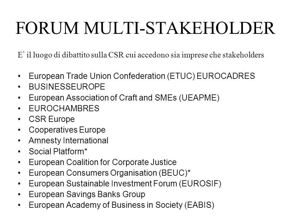 4 aree di lavoro CSR e PMI CSR e competitivit à Rapporto sociale e diclosure Business e diritti umani
