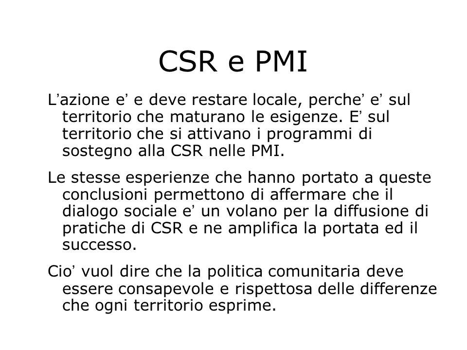 CSR e PMI L azione e e deve restare locale, perche e sul territorio che maturano le esigenze. E sul territorio che si attivano i programmi di sostegno