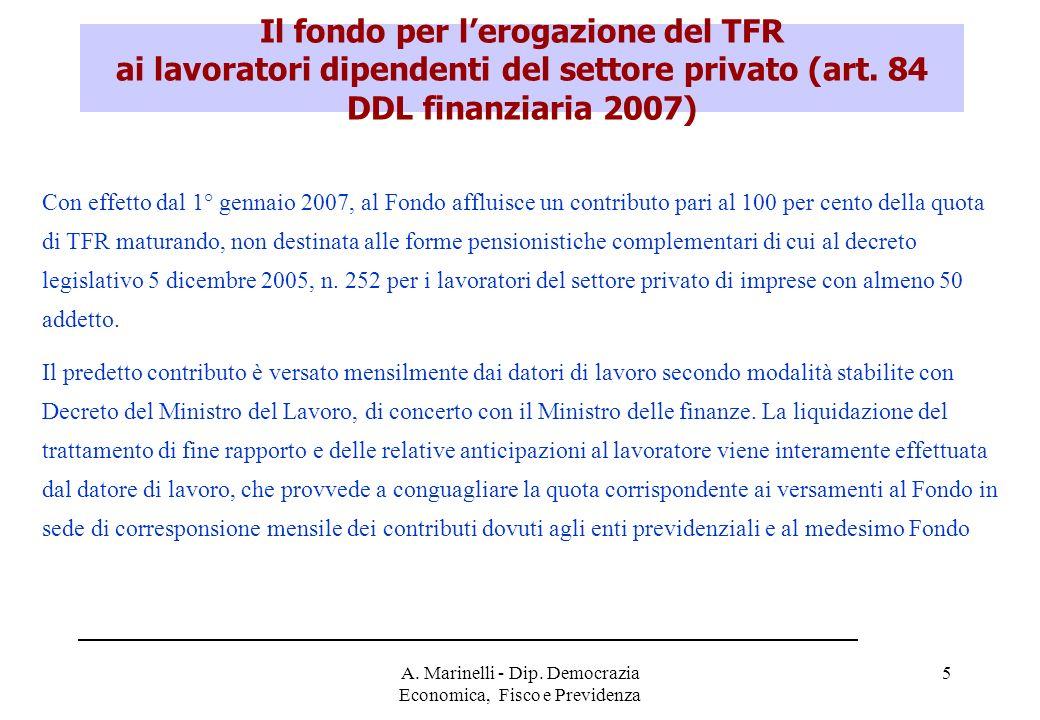 A. Marinelli - Dip. Democrazia Economica, Fisco e Previdenza 6 Il fondo per la gestione dei TFR (3)