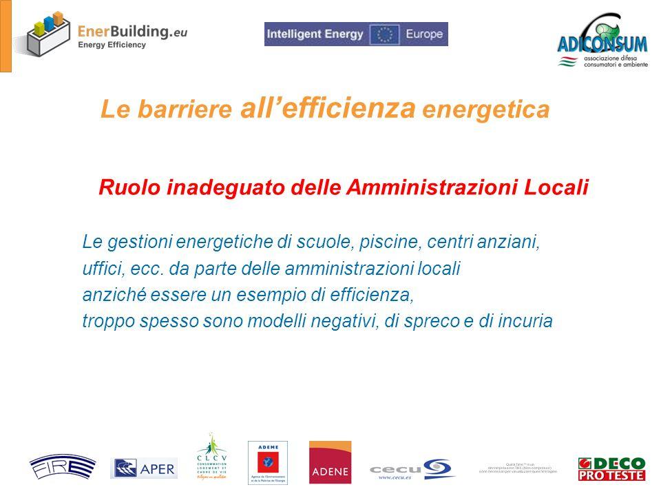 Le barriere allefficienza energetica Ruolo inadeguato delle Amministrazioni Locali Le gestioni energetiche di scuole, piscine, centri anziani, uffici, ecc.