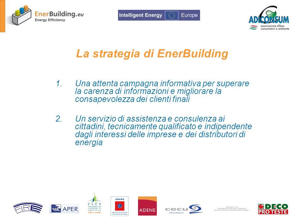 La strategia di EnerBuilding 1.Una attenta campagna informativa per superare la carenza di informazioni e migliorare la consapevolezza dei clienti finali 2.Un servizio di assistenza e consulenza ai cittadini, tecnicamente qualificato e indipendente dagli interessi delle imprese e dei distributori di energia