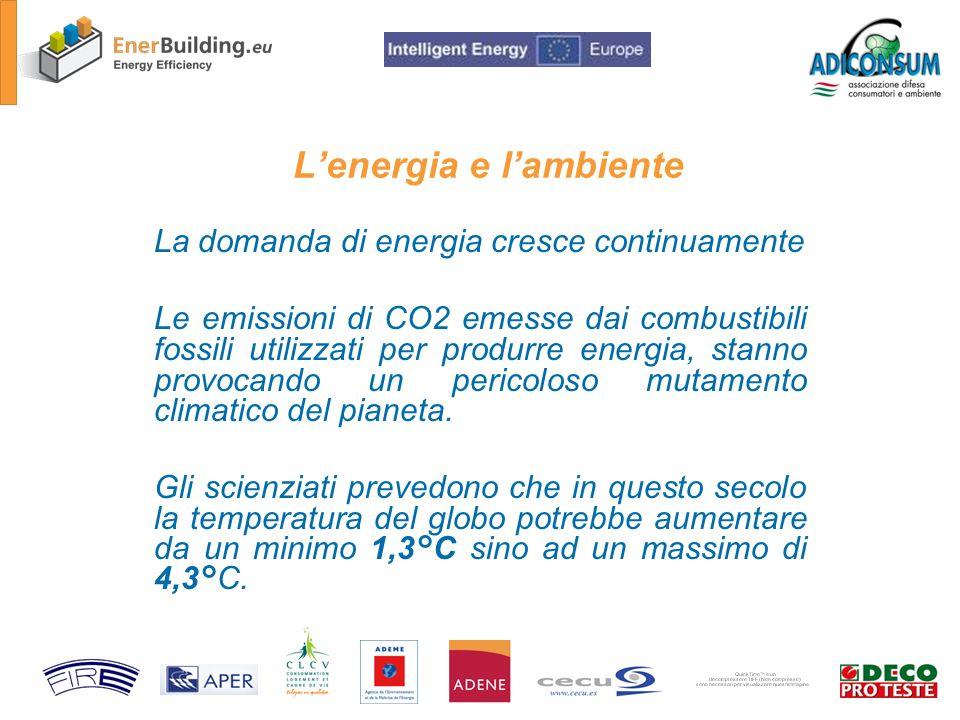 Lenergia e lambiente La domanda di energia cresce continuamente Le emissioni di CO2 emesse dai combustibili fossili utilizzati per produrre energia, stanno provocando un pericoloso mutamento climatico del pianeta.