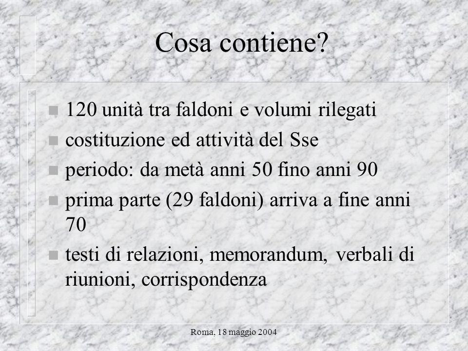 Roma, 18 maggio 2004 Cosa contiene.