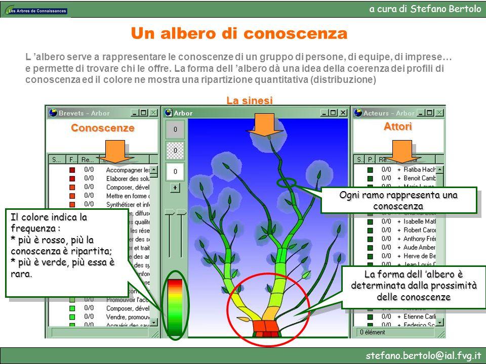 a cura di Stefano Bertolo stefano.bertolo@ial.fvg.it Il colore indica la frequenza : * più è rosso, più la conoscenza è ripartita; * più è verde, più