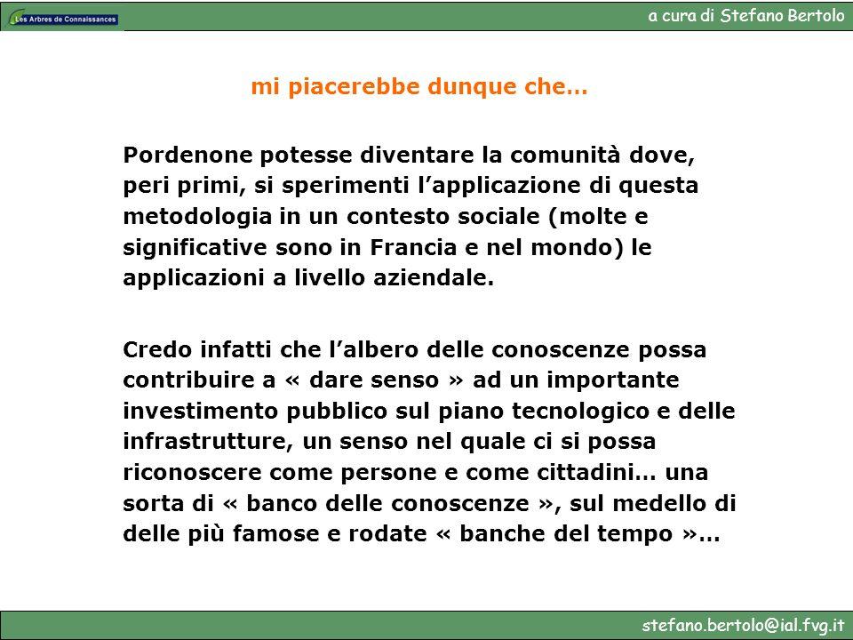 a cura di Stefano Bertolo stefano.bertolo@ial.fvg.it mi piacerebbe dunque che… Pordenone potesse diventare la comunità dove, peri primi, si sperimenti