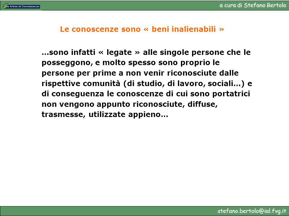 a cura di Stefano Bertolo stefano.bertolo@ial.fvg.it Le conoscenze sono « beni inalienabili » …sono infatti « legate » alle singole persone che le pos