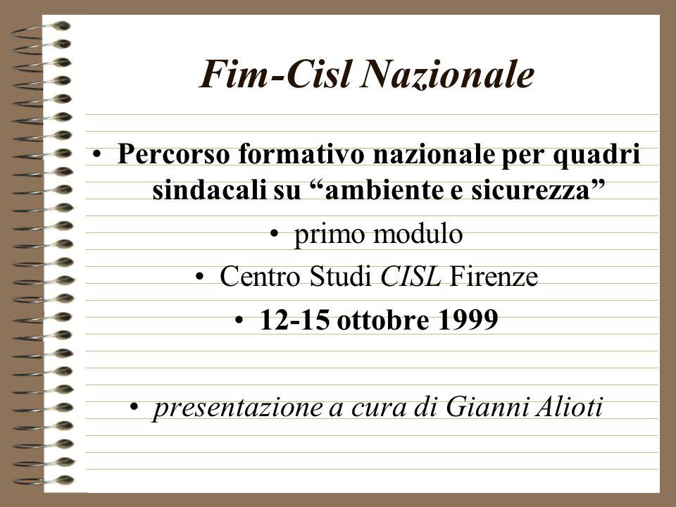 Fim-Cisl Nazionale Percorso formativo nazionale per quadri sindacali su ambiente e sicurezza primo modulo Centro Studi CISL Firenze 12-15 ottobre 1999 presentazione a cura di Gianni Alioti