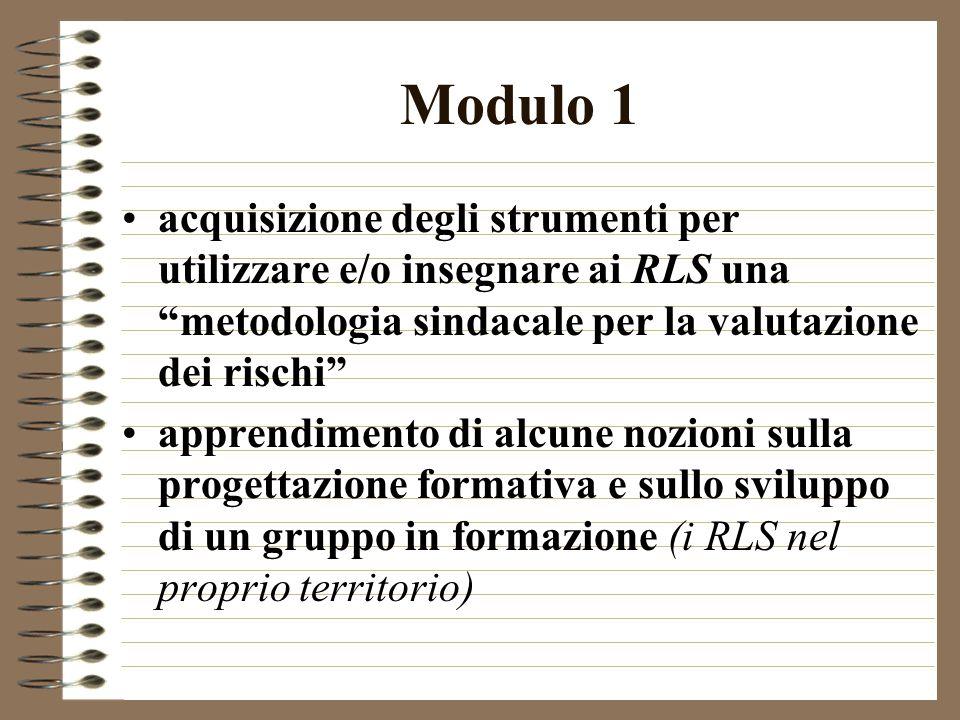 Modulo 1 acquisizione degli strumenti per utilizzare e/o insegnare ai RLS una metodologia sindacale per la valutazione dei rischi apprendimento di alcune nozioni sulla progettazione formativa e sullo sviluppo di un gruppo in formazione (i RLS nel proprio territorio)