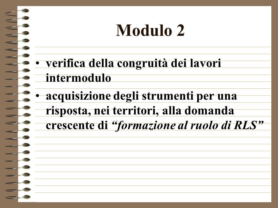 Modulo 2 verifica della congruità dei lavori intermodulo acquisizione degli strumenti per una risposta, nei territori, alla domanda crescente di formazione al ruolo di RLS