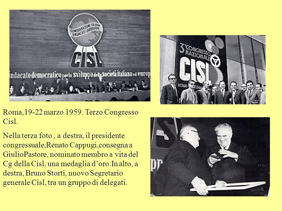 Roma,19-22 marzo 1959.Terzo Congresso Cisl.