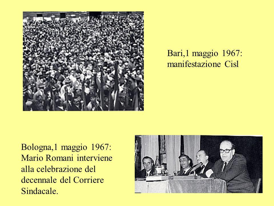 Roma,22-25 aprile 1965. 5° Congresso Cisl. In alto: lintervento di Luigi Macario; a lato: Dionigi Coppo e Vito Scalia, al tavolo della Presidenza.