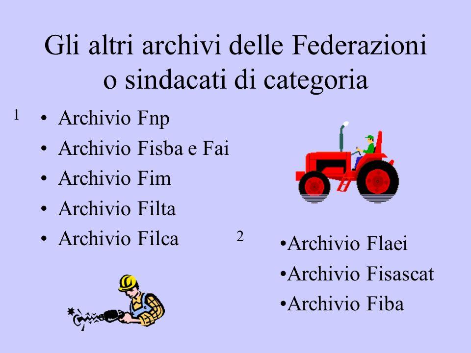 Gli altri archivi delle Federazioni o sindacati di categoria Archivio Fnp Archivio Fisba e Fai Archivio Fim Archivio Filta Archivio Filca Archivio Fla