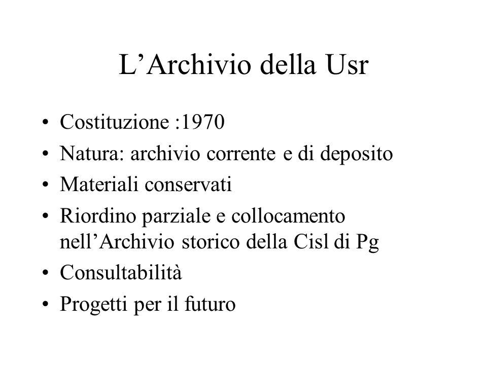 LArchivio della Usr Costituzione :1970 Natura: archivio corrente e di deposito Materiali conservati Riordino parziale e collocamento nellArchivio storico della Cisl di Pg Consultabilità Progetti per il futuro