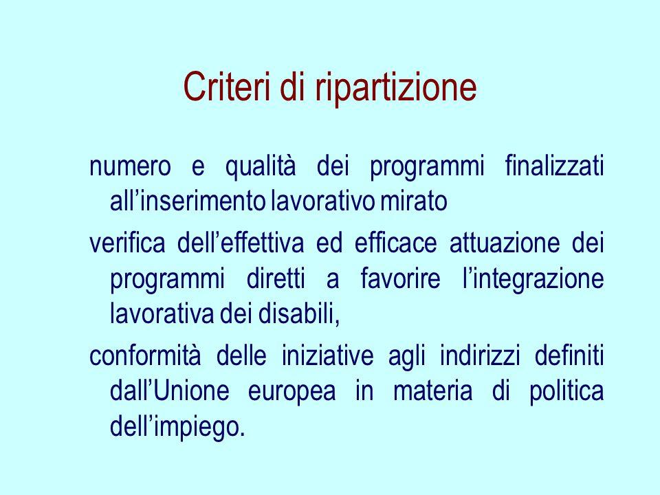 Criteri di ripartizione numero e qualità dei programmi finalizzati allinserimento lavorativo mirato verifica delleffettiva ed efficace attuazione dei
