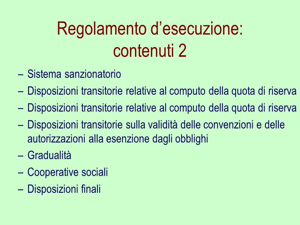 Regolamento desecuzione: contenuti 2 –Sistema sanzionatorio –Disposizioni transitorie relative al computo della quota di riserva –Disposizioni transit