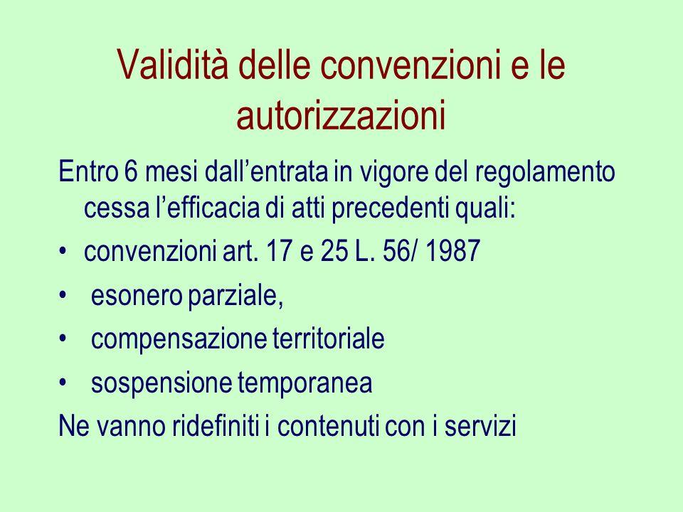 Validità delle convenzioni e le autorizzazioni Entro 6 mesi dallentrata in vigore del regolamento cessa lefficacia di atti precedenti quali: convenzio