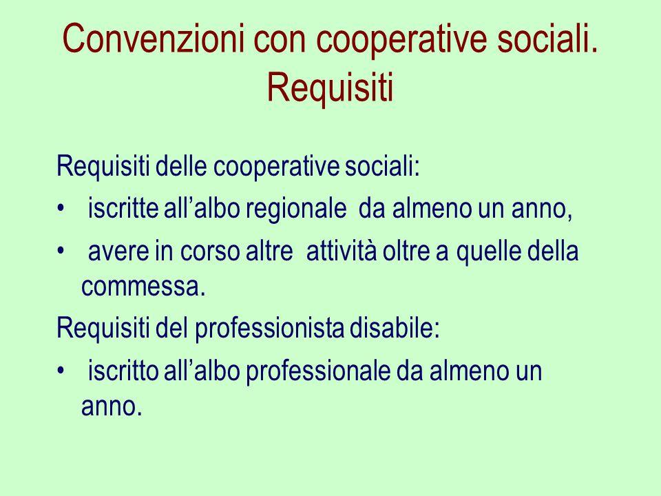 Convenzioni con cooperative sociali. Requisiti Requisiti delle cooperative sociali: iscritte allalbo regionale da almeno un anno, avere in corso altre
