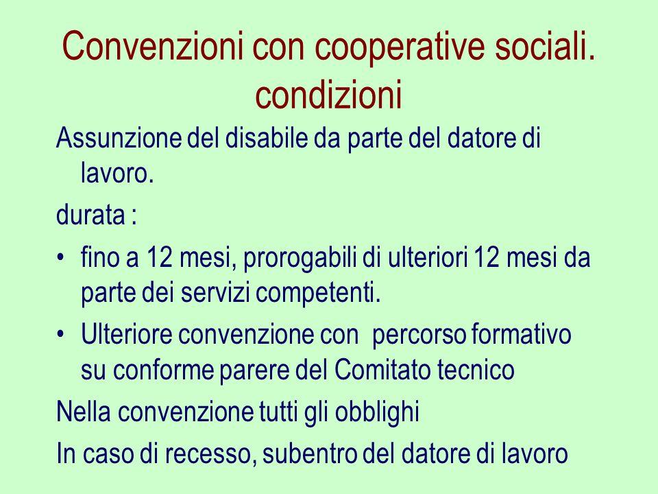 Convenzioni con cooperative sociali. condizioni Assunzione del disabile da parte del datore di lavoro. durata : fino a 12 mesi, prorogabili di ulterio