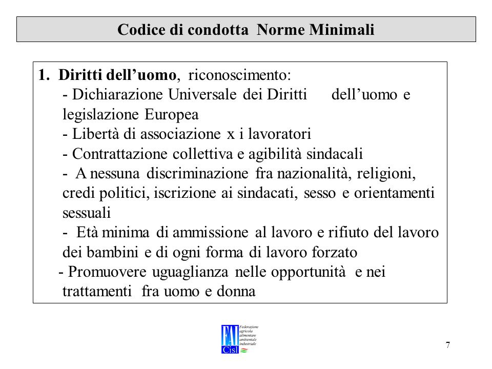 7 Codice di condotta Norme Minimali 1.