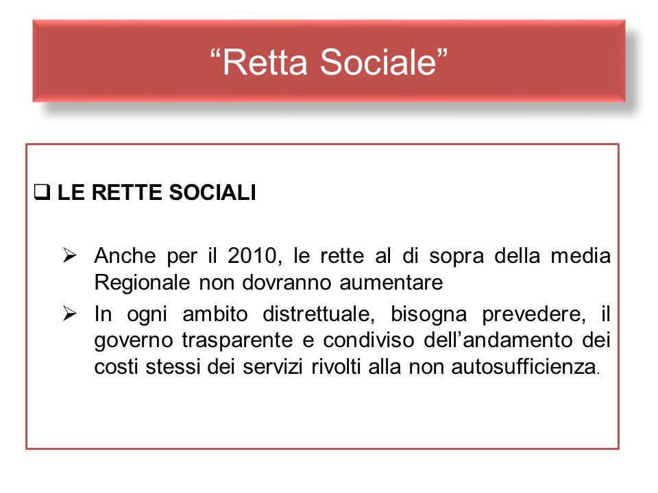Retta Sociale LE RETTE SOCIALI Anche per il 2010, le rette al di sopra della media Regionale non dovranno aumentare In ogni ambito distrettuale, bisog