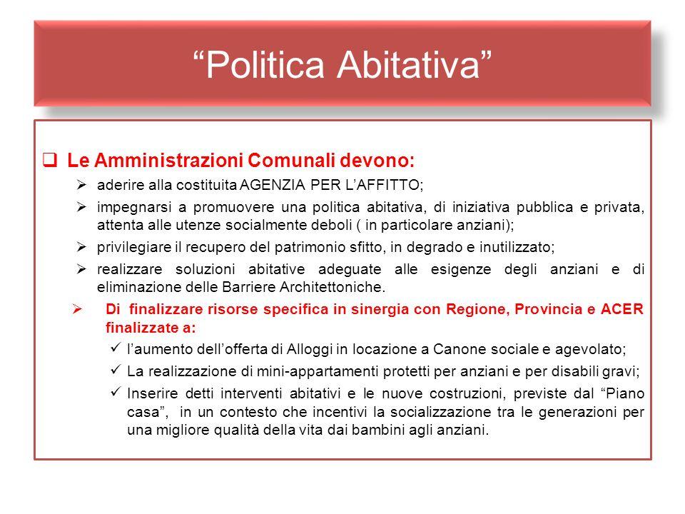 Politica Abitativa Le Amministrazioni Comunali devono: aderire alla costituita AGENZIA PER LAFFITTO; impegnarsi a promuovere una politica abitativa, d