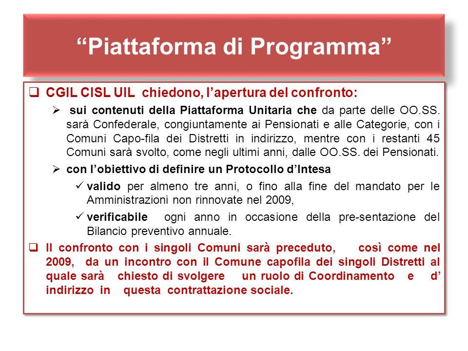Piattaforma di Programma CGIL CISL UIL chiedono, lapertura del confronto: sui contenuti della Piattaforma Unitaria che da parte delle OO.SS. sarà Conf