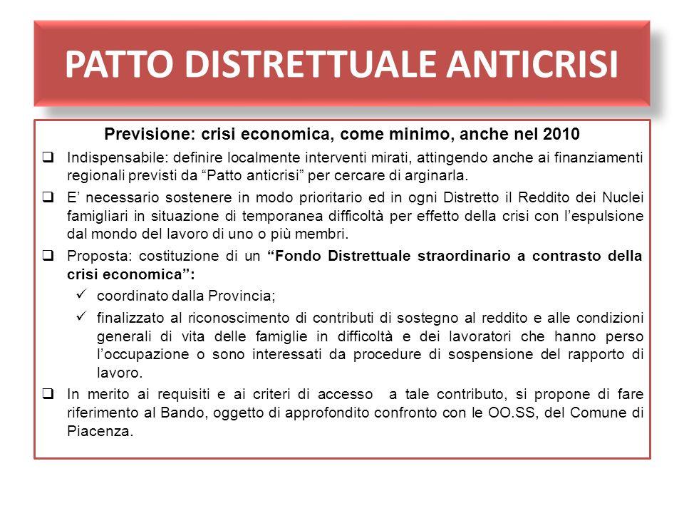 PATTO DISTRETTUALE ANTICRISI Previsione: crisi economica, come minimo, anche nel 2010 Indispensabile: definire localmente interventi mirati, attingend