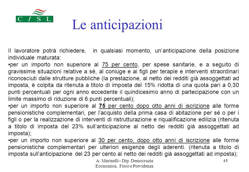 A. Marinelli - Dip. Democrazia Economica, Fisco e Previdenza 44 Ed inoltre......