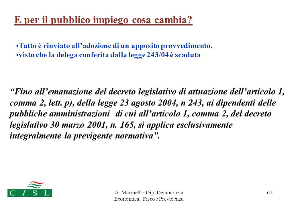 A. Marinelli - Dip. Democrazia Economica, Fisco e Previdenza 61 6° GRUPPO Pubblico impiego