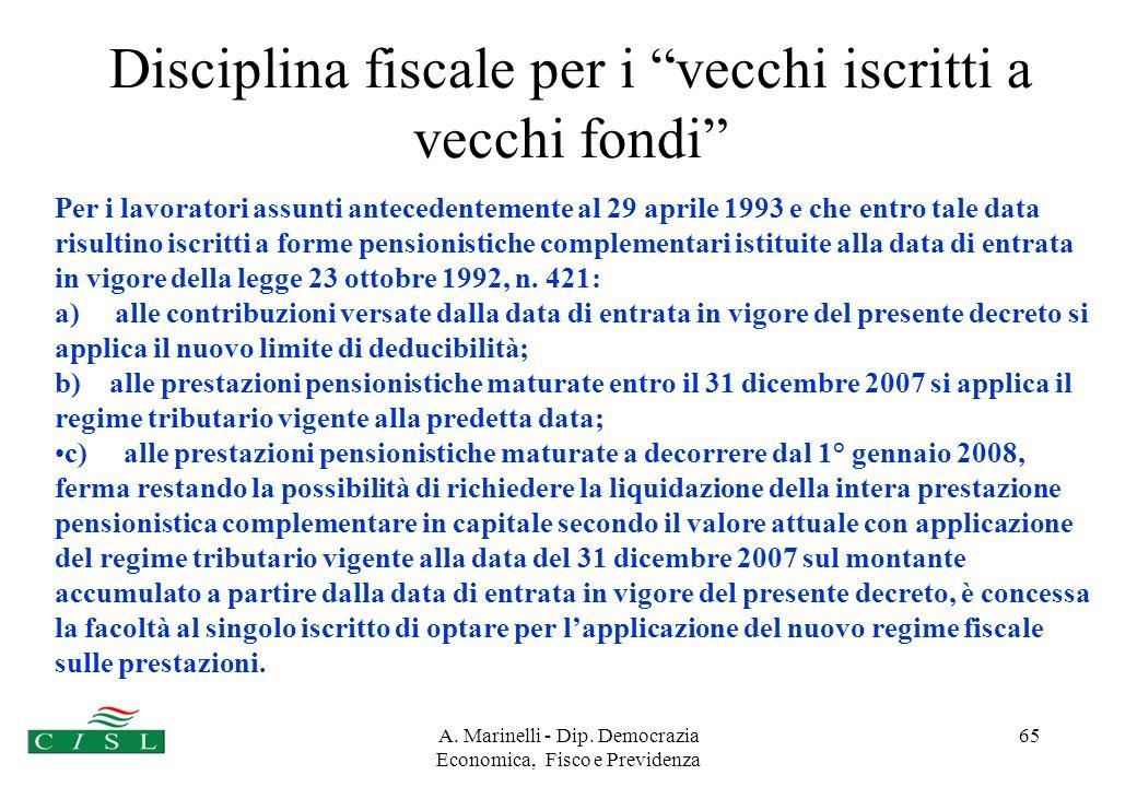 A. Marinelli - Dip. Democrazia Economica, Fisco e Previdenza 64 7° GRUPPO I fondi preesistenti