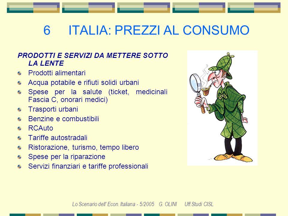 Lo Scenario dell' Econ. Italiana - 5/2005 G. OLINI Uff.Studi CISL 6 ITALIA: PREZZI AL CONSUMO Inflazione gelata dai consumi Impulsi prezzi petrolio co