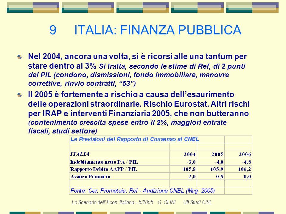 Lo Scenario dell' Econ. Italiana - 5/2005 G. OLINI Uff.Studi CISL 8 ITALIA: RETRIBUZIONI IL GROVIGLIO DELLE PUBBLICHE AMMINISTRAZIONI Un sistema di re