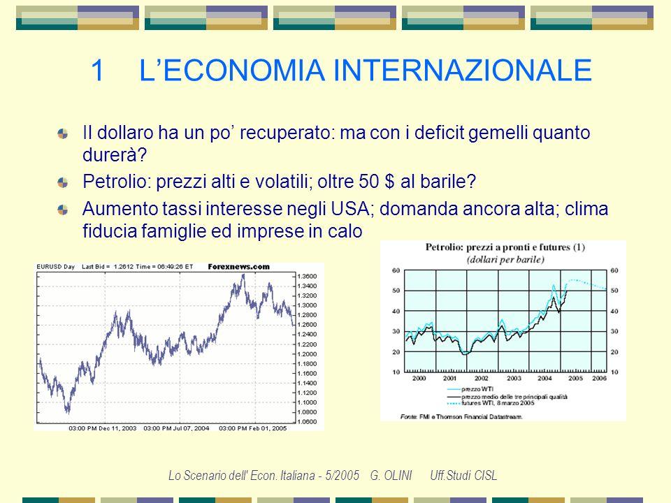 Lo Scenario dell' Econ. Italiana - 5/2005 G. OLINI Uff.Studi CISL 1 LECONOMIA NTERNAZIONALE Il 2004 è stato un anno di crescita, ma è finito rallentan