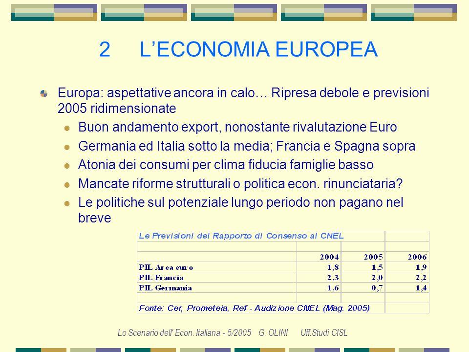 Lo Scenario dell' Econ. Italiana - 5/2005 G. OLINI Uff.Studi CISL 1 LECONOMIA INTERNAZIONALE Cina: cresce molto, finanzia il debito americano, frena u