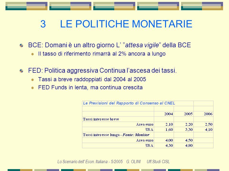 Lo Scenario dell' Econ. Italiana - 5/2005 G. OLINI Uff.Studi CISL 2 LECONOMIA EUROPEA In Europa laumento del petrolio non si scarica sui prezzi al con
