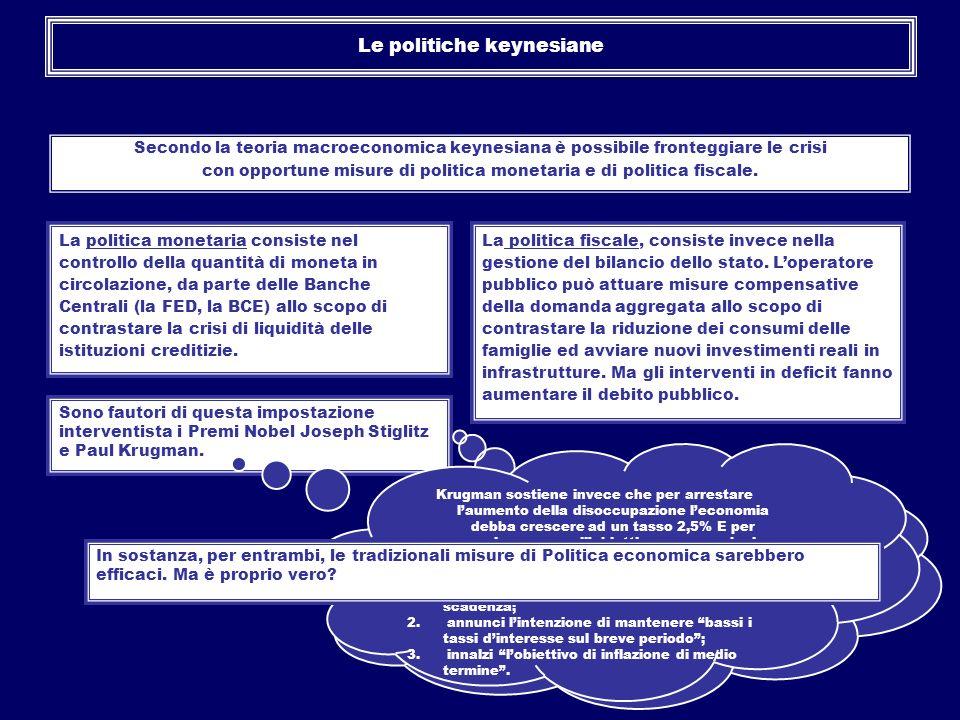 Le politiche keynesiane Secondo la teoria macroeconomica keynesiana è possibile fronteggiare le crisi con opportune misure di politica monetaria e di