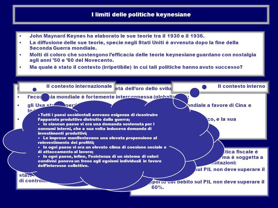 I limiti delle politiche keynesiane E inoltre, nel contesto dellUnione europea la politica monetaria è di competenza della BCE alla quale è stato asse