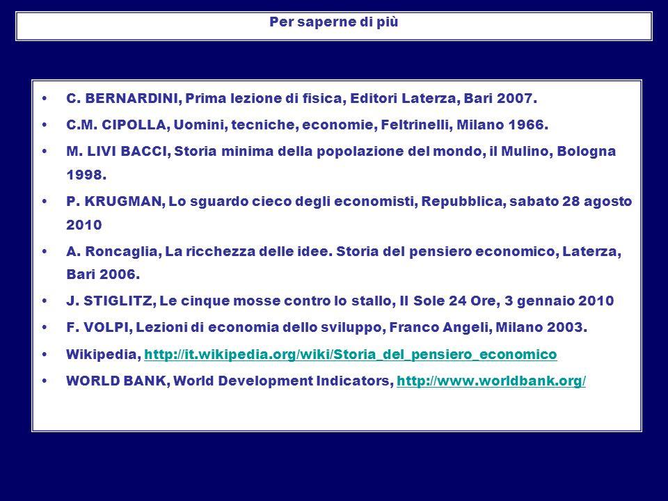 C. BERNARDINI, Prima lezione di fisica, Editori Laterza, Bari 2007. C.M. CIPOLLA, Uomini, tecniche, economie, Feltrinelli, Milano 1966. M. LIVI BACCI,