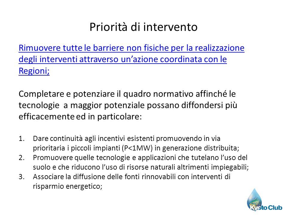 Priorità di intervento Rimuovere tutte le barriere non fisiche per la realizzazione degli interventi attraverso unazione coordinata con le Regioni; Co